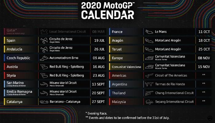 เปิดโผ 13 สนามแข่ง โมโตจีพีฤดูกาล2020 ihatebillgates ข่าวMotorsport